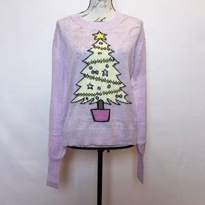 Sweaters - Purple Christmas Tree Lightweight Sweater